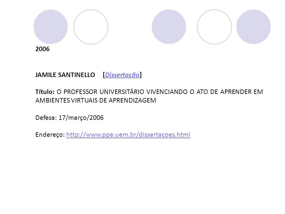 2006 JAMILE SANTINELLO [Dissertação] Título: O PROFESSOR UNIVERSITÁRIO VIVENCIANDO O ATO DE APRENDER EM AMBIENTES VIRTUAIS DE APRENDIZAGEM.